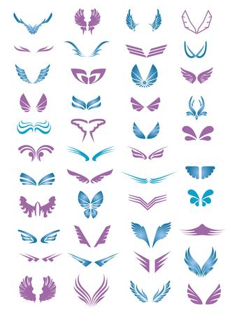 화이트 절연 색깔 된 날개 기호의 컬렉션 일러스트