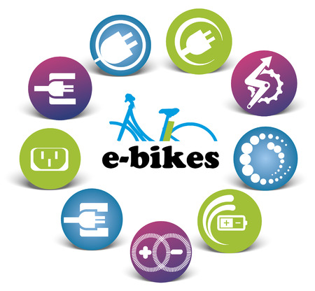 Collection of color e-bikes icons, illustration isolated on white