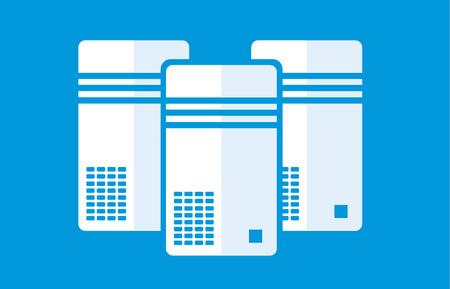 Simple illustration of computer or server on blue background