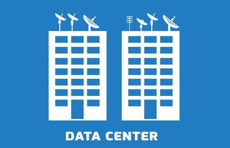 상단에 위성과 데이터 센터의 간단한 일러스트, 서버, 파란색 배경 건물 일러스트