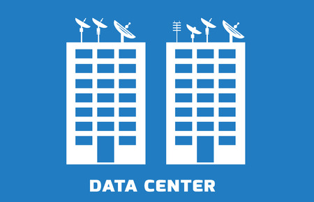 Simple illustration of data center with satelite on the top, building with servers, blue background Ilustração