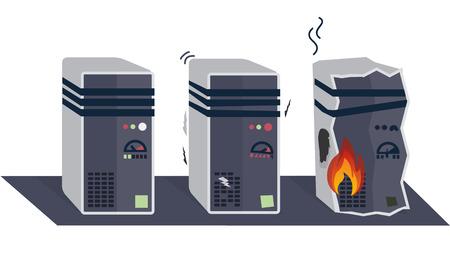깨진 된 컴퓨터 또는 서버, 오버 헤드 및 깨진, 흰색 배경 그림 일러스트