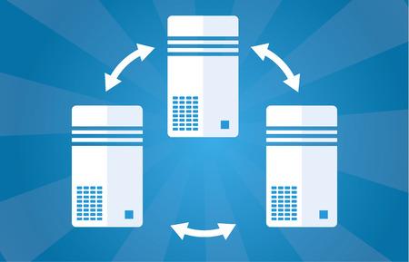 コンピューターまたは青の背景にサーバーの簡単な図