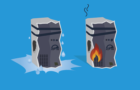overheated: Illustration of broken computers or servers, blue background