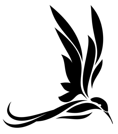Sillhouette of bird, hummingbird illustration isolated on white background  イラスト・ベクター素材