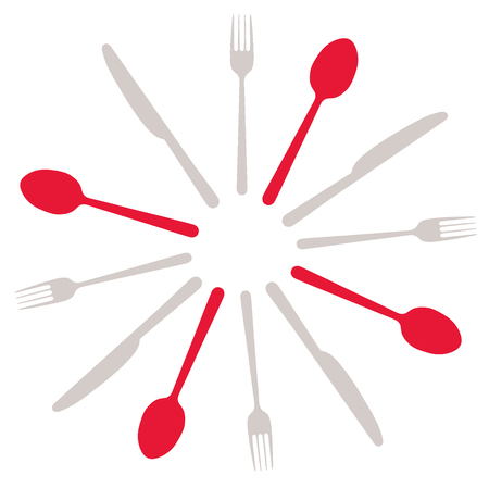 Silhouettes of cutlery, illustration on white background