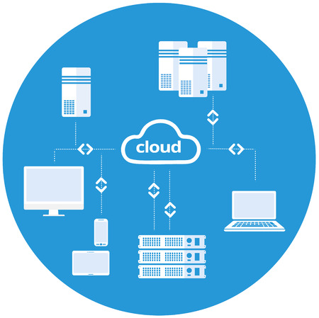 Cloud computing vector illustration with connected devices like laptop, tablet, smart phone, servers. Ilustração