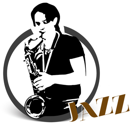Black illustration of saxophonist, isolated on white background, silhouette Иллюстрация