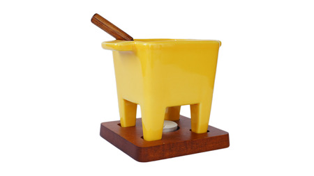 Fondue vessel with forks Stock Photo