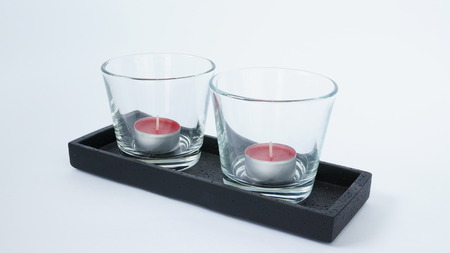 Two red tea candles Stock Photo