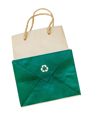 reprocess: a recycle paper bag on white background