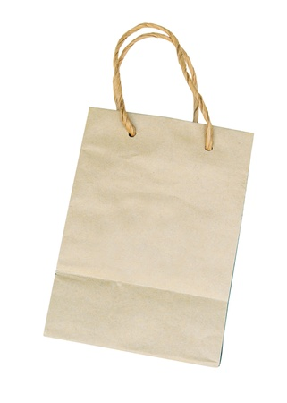 reprocess: a brown paper bag on white background Stock Photo