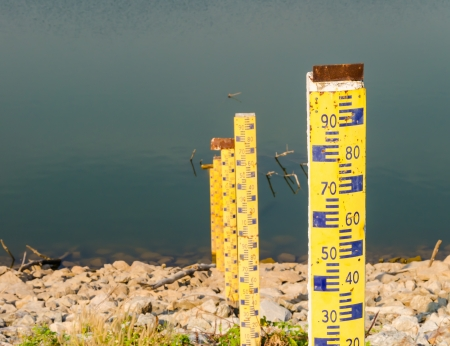 water level in the reservoir-close up photo