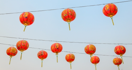 Beautiful Chinese style lantern on sky background photo