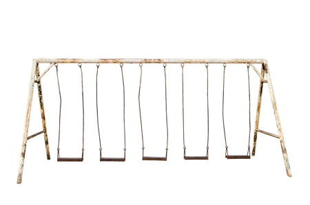 old playground Swings isolated on white Banque d'images
