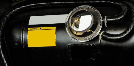 black car liquefied petroleum gas, LPG  tank with meter close up Banque d'images