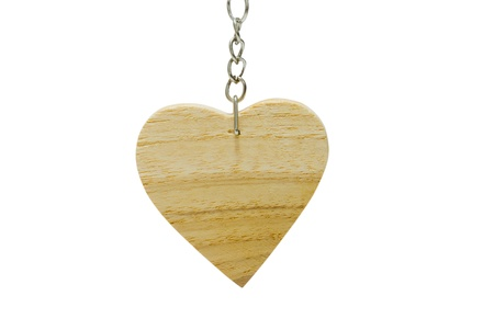 keychain: keychain in wooden heart shape isolated on white background