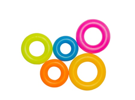 Multicolor plastic hoops isolated on white background photo