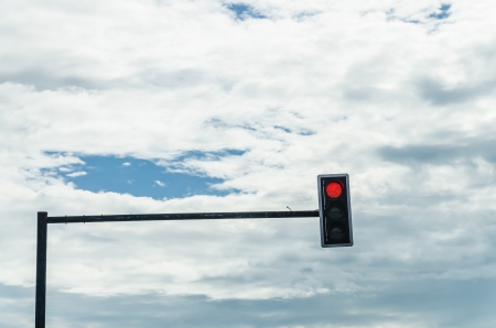 red traffic light: red traffic light on  blue sky and cloud