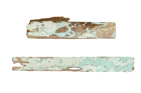Rough hewn wood sign with cracked paint isolated Banque d'images