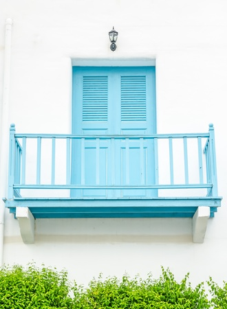 renovated facade blue balcony  on white wall Stock Photo - 21266071