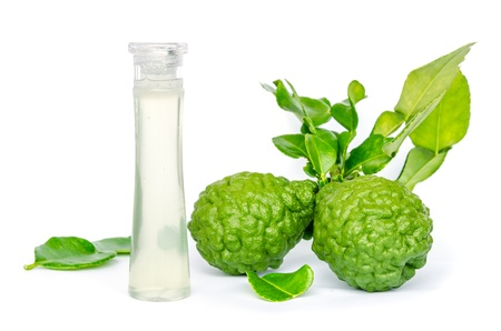 kaffir lime extract oil isolated on white background Stock Photo