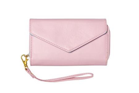 rosa borsa di cuoio della signora isolato su sfondo bianco - pochette Archivio Fotografico