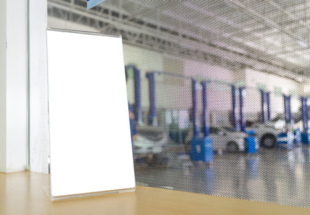 white stand on the desk at the car maintainance service photo