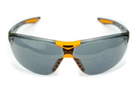 Safety glasses isolated on a white background. Stock Photo