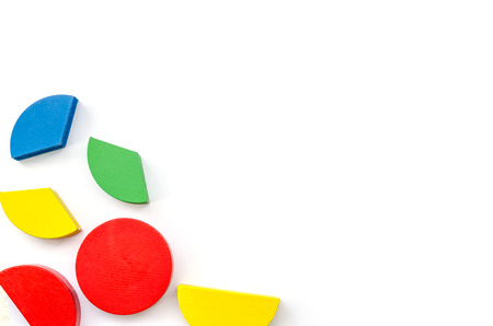 colorful wooden blocks isolated on white background. photo