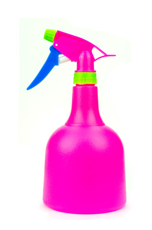 Pink Cleaning Spray Bottle Isolated on White photo