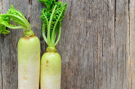 Daikon radish on the wooden background photo