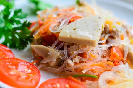 sen: spicy noodle salad, spicy vermicelli salad (yum woon sen). Thai food. Stock Photo