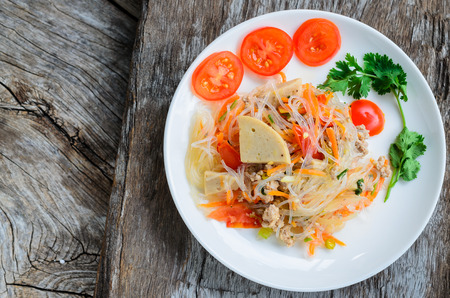 sen: spicy noodle salad, spicy vermicelli salad (yum woon sen). Thai food. Stock Photo