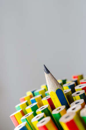 distinctive: Individuality concept. Pencils close-up for background. Stock Photo