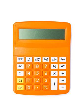 calculadora: Vista superior de la calculadora aislada en el fondo blanco.