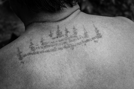 yantra: Yantra tattoo also called Sak Yant-Thai style tattoo.