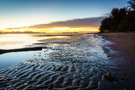 trang: sunset on the beach in Trang province,Thailand Stock Photo
