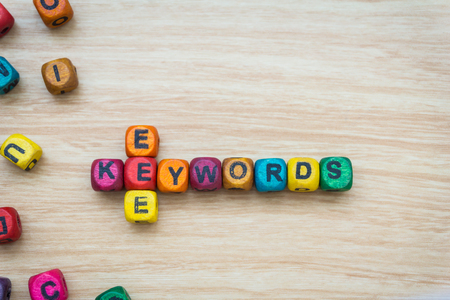keywords: word keywords on colorful wooden cubes Stock Photo