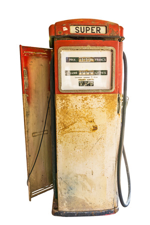 old gas pump isolated on white Stock Photo