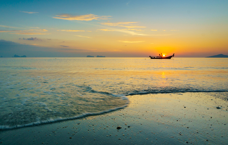 Beautiful sunset on the beach in Trang province,Thailand.