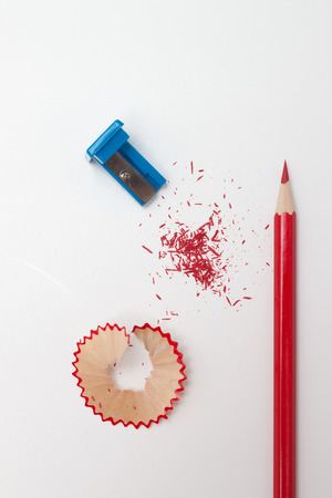 sharpened: Sharpened pencil, shavings and sharpener