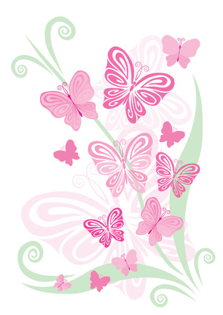 Decorative spring ornament with butterflies Illustration