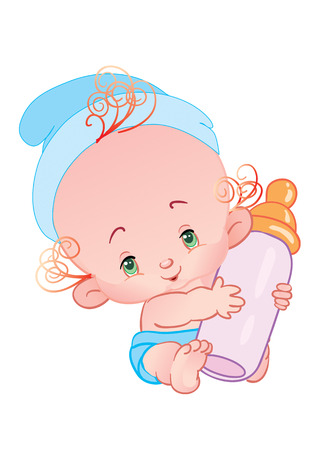 The lovely child holds a bottle with milk Stock Vector - 1888517