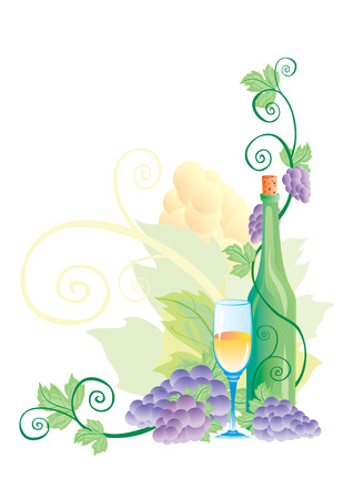 Grapevine with leaves, a bottle and a glass of wine Illustration