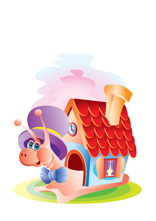 The snail carries the house on a back Illustration