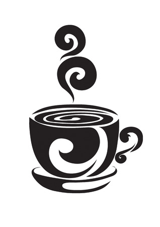 Orange cup from coffee or tea on a support, above a cup curls pair curl Vector