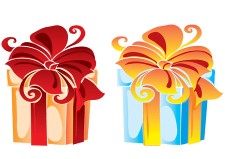 Two gift boxes of different colors Vector