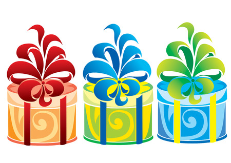 Three gift boxes of different colors Vector
