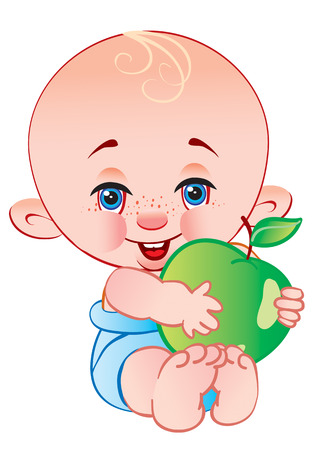 The child holds an apple in hands